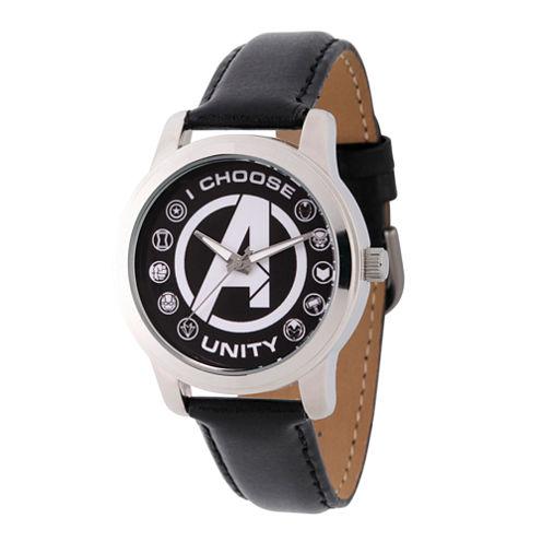 Classic Marvel Mens Black Strap Watch-Wma000055