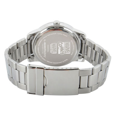 Comics Marvel Mens Silver Tone Strap Watch-Wma000059