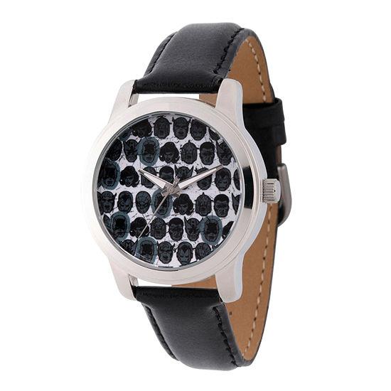 Marvel Comics Marvel Mens Black Leather Strap Watch-Wma000060