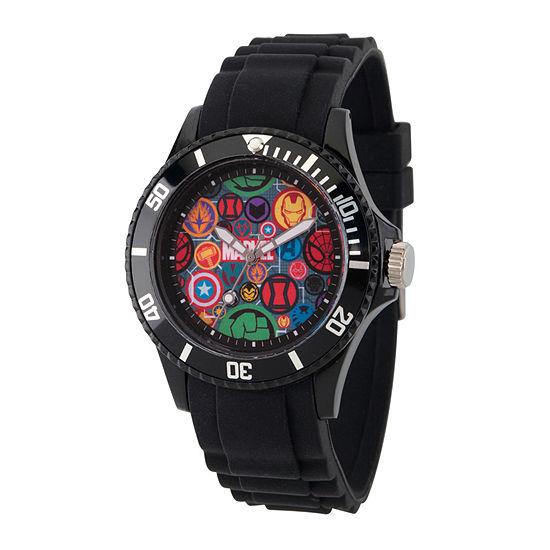 Classic Marvel Mens Black Strap Watch-Wma000068