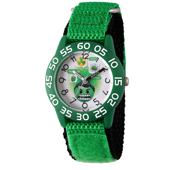 Marvel Emoji Marvel Boys Green Strap Watch-Wma000073
