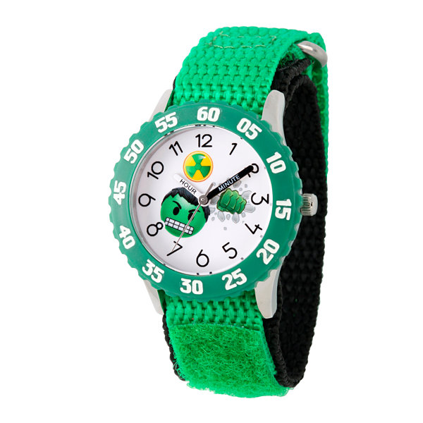 Emoji Marvel Boys Green Strap Watch-Wma000086