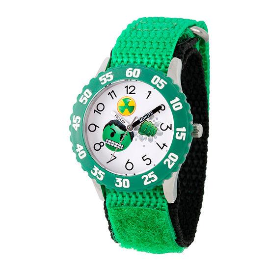 Marvel Emoji Marvel Boys Green Strap Watch-Wma000086