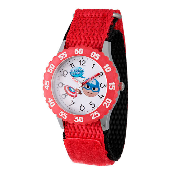 Marvel Emoji Marvel Boys Red Strap Watch-Wma000087