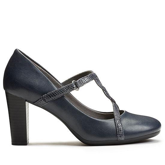 A2 by Aerosoles Womens Lonestar Pumps Hook and Loop Round Toe Stacked Heel