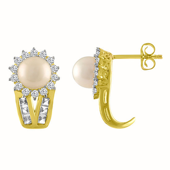 Genuine White Cultured Freshwater Pearl 14K Gold Over Silver 17.3mm Stud Earrings