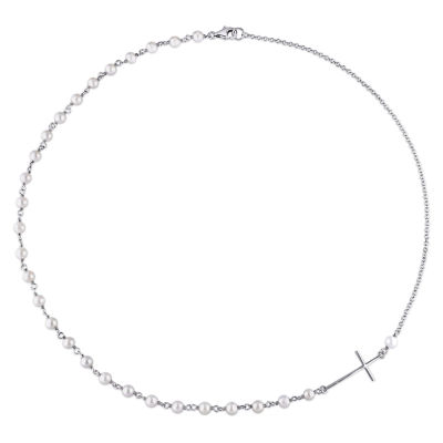 Womens Genuine White Cultured Freshwater Pearls Sterling Silver Beaded Necklace