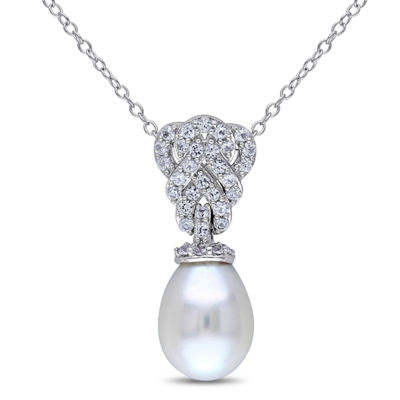 Womens Genuine White Cultured Freshwater Pearl Sterling Silver Pendant Necklace