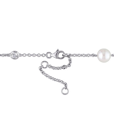 Womens Genuine White Cultured Freshwater Pearl Sterling Silver Beaded Necklace