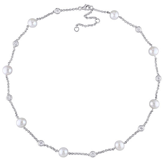 Womens Genuine White Cultured Freshwater Pearl Beaded Necklace