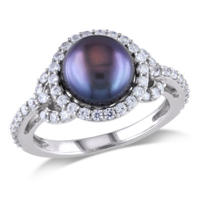 Womens 8MM Black Cultured Freshwater Pearl Sterling Silver Cocktail Ring