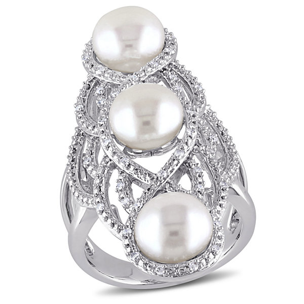 Womens White Pearl Sterling Silver Cocktail Ring