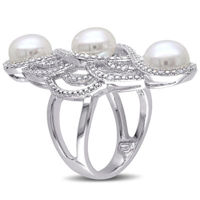 Womens 8.5MM Genuine White Cultured Freshwater Pearl Sterling Silver Cocktail Ring