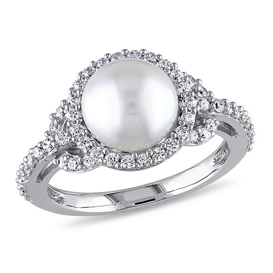 Womens 8MM Genuine White Cultured Freshwater Pearl Sterling Silver Cocktail Ring