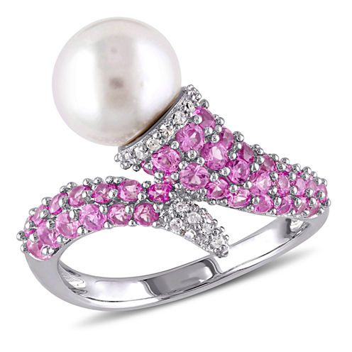 Womens Genuine White Pearl Sterling Silver Cocktail Ring