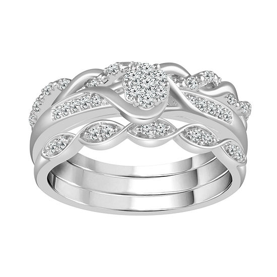Womens 1 4 Ct Tw Genuine White Diamond 10k Gold Bridal Set
