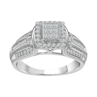 Womens 1/2 CT. T.W. Princess White Diamond 10K Gold Engagement Ring
