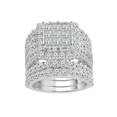 Womens 5 CT. T.W. Genuine White Diamond 14K Gold Bridal Set