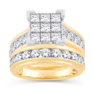 Womens 4 CT. T.W. Genuine White Diamond 14K Gold Bridal Set