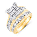 Womens 4 CT. T.W. Genuine White Diamond 14K Gold Bridal Set