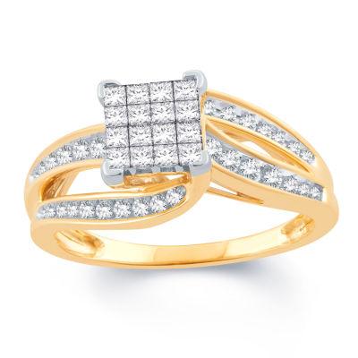 Womens 1/2 CT. T.W. Princess White Diamond 10K Gold Engagement Ring