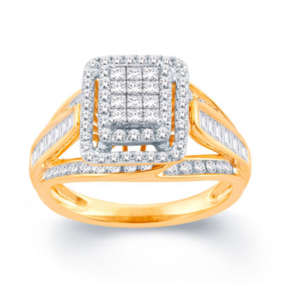 Womens 1 CT. T.W. Genuine Princess White Diamond 10K Gold Engagement Ring