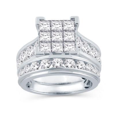 Womens 4 CT. T.W. Genuine White Diamond 14K Gold Engagement Ring