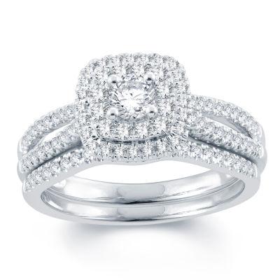 Modern Bride Signature Womens 3/4 CT. T.W. Genuine White Diamond 14K Gold Bridal Set