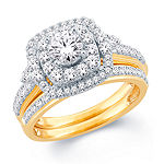 Modern Bride Signature Womens 1 1/2 CT. T.W. Genuine White Diamond 14K Gold Bridal Set