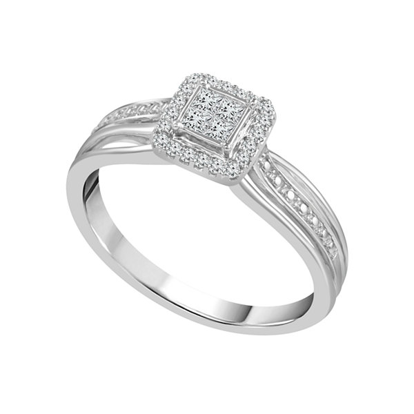 Promise My Love Womens 1/5 CT. T.W. Genuine Princess White Diamond 10K Gold Promise Ring