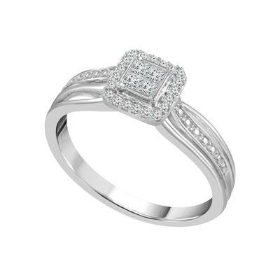 Promise My Love Womens 1/5 CT. T.W. Genuine White Diamond 10K Gold Promise Ring