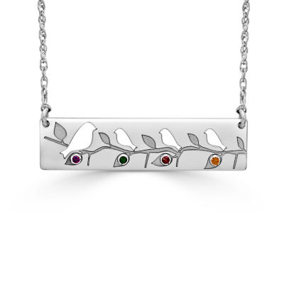 Womens Multi Color Stone Rectangular Pendant Necklace