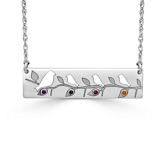 Womens Multi Color Stone Sterling Silver Rectangular Pendant Necklace
