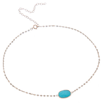 Womens Blue Turquoise 10K Gold Pendant Necklace