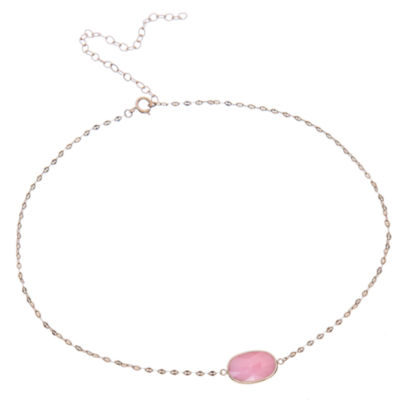 Womens Pink Opal 10K Gold Pendant Necklace