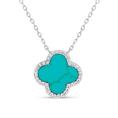 Womens Simulated Turquoise Sterling Silver Pendant Necklace