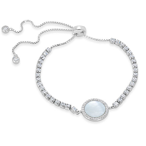 Womens White Mother Of Pearl Sterling Silver Bolo Bracelet