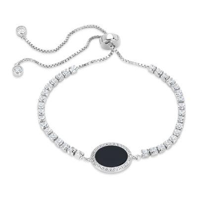 Black Onyx Sterling Silver Round Bolo Bracelet
