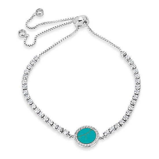 Womens Simulated Turquoise Sterling Silver Bolo Bracelet