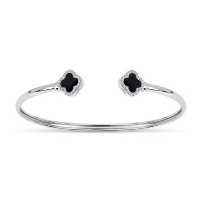 Womens Black Onyx Sterling Silver Bangle Bracelet