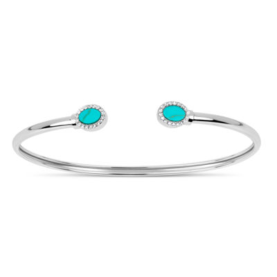 Womens Simulated Turquoise Sterling Silver Bangle Bracelet