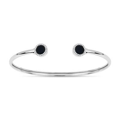 Black Onyx Sterling Silver Round Bangle Bracelet