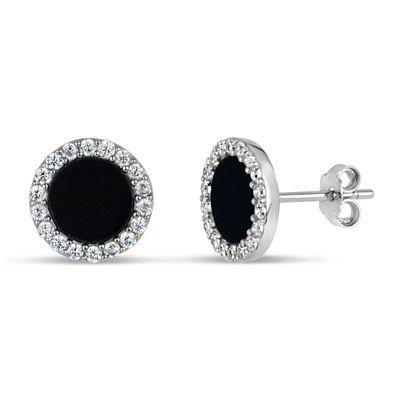 Black Onyx Sterling Silver 9mm Round Stud Earrings