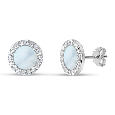 White Mother Of Pearl 9mm Round Stud Earrings