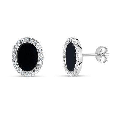 Black Onyx Sterling Silver 11mm Round Stud Earrings