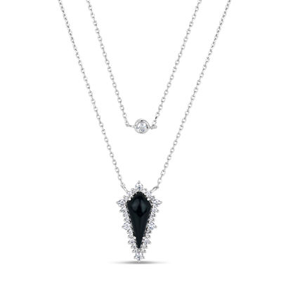 Womens Black Onyx Sterling Silver Strand Necklace