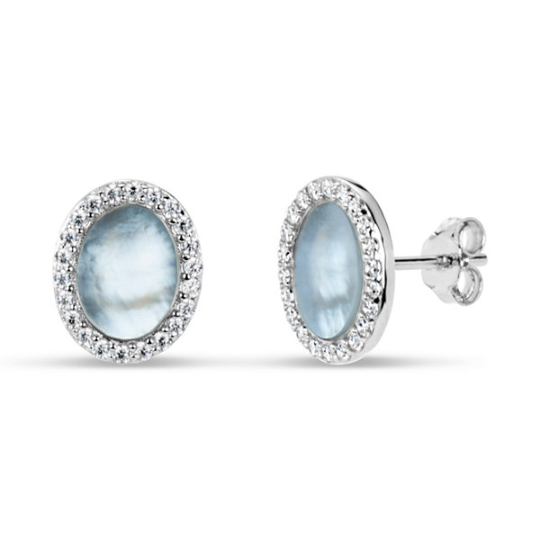 Oval White Mother Of Pearl Sterling Silver Stud Earrings