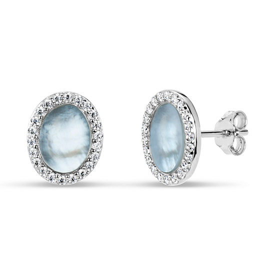 White Mother Of Pearl 11mm Oval Stud Earrings