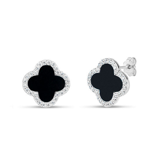 Black Onyx Sterling Silver 13mm Curved Stud Earrings