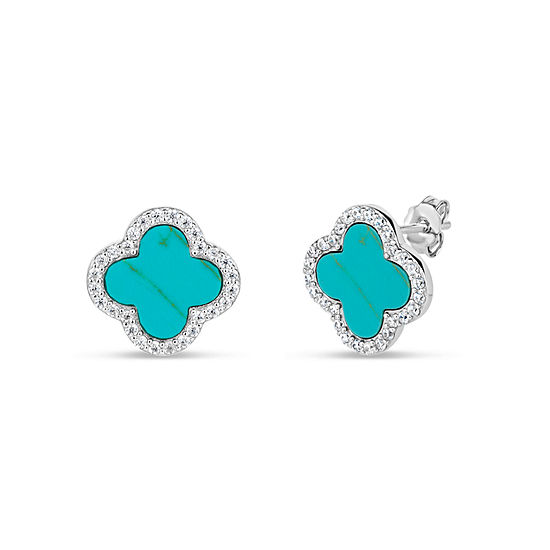 Simulated Turquoise Sterling Silver Stud Earrings